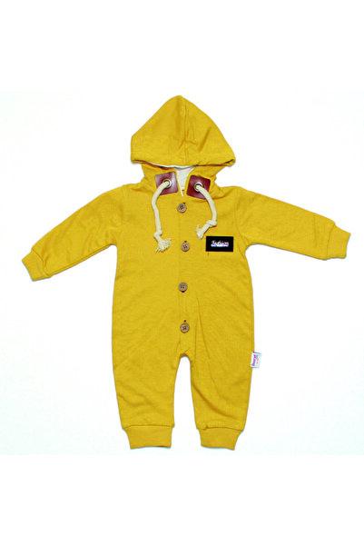 bebegen Unissex Bebek Sarı Kapşonlu Düğmeli Tulum