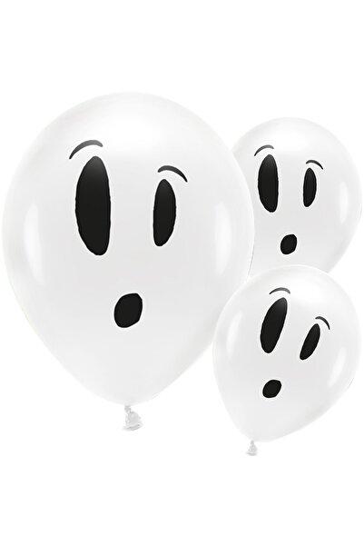 Kullan At Market Cadılar Bayramı Hayalet Baskılı Beyaz Balon 10'Lu