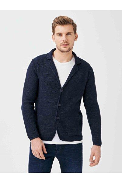 Xint Erkek Lacivert Cepli Slim Fit Düğmeli Triko Ceket