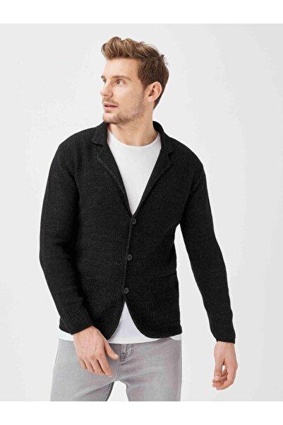 Xint Erkek Siyah Cepli Slim Fit Düğmeli Triko Ceket