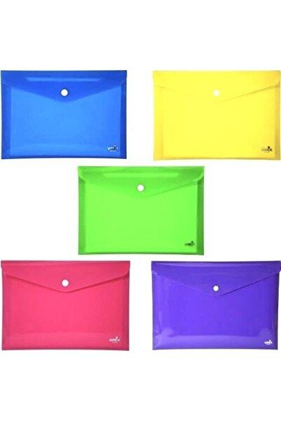 Umix Çıtçıtlı Zarf Dosya A4 5 Renk 300 Mikron Kalınlık 5'li