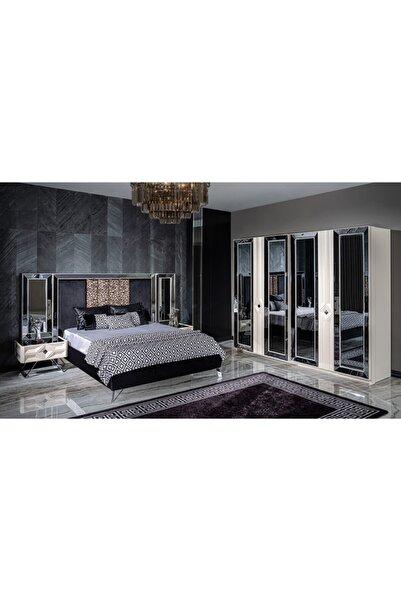 CaddeYıldız Beyaz Nepal Luxury Bazalı Yatak Odası Takımı