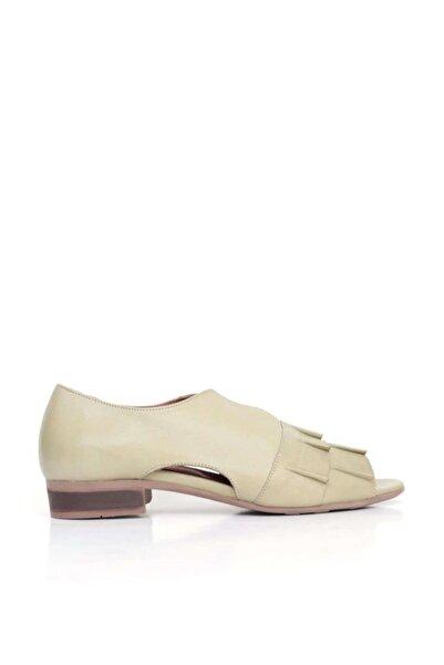 BUENO Kadın Haki Shoes Önü Büzgülü Hakiki Deri  Düz Sandalet 9n5117