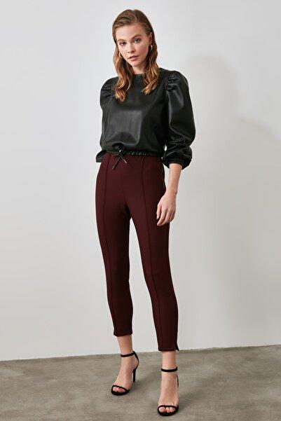 TRENDYOLMİLLA Bordo Ekoseli Skinny Pantolon TWOAW21PL0234