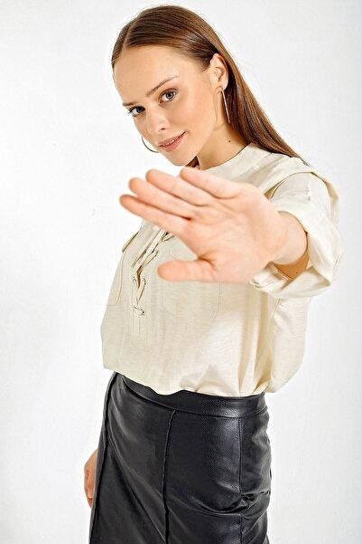 Bigdart Kadın Ekru Hakim Yaka Oversize Gömlek 3772