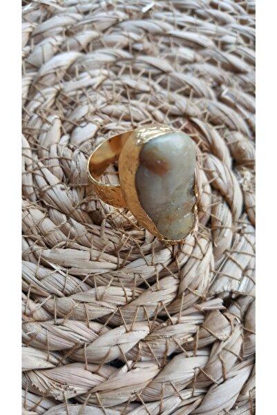 Güncem Butik Kadın Kahverengi Doğal Taş Yüzük