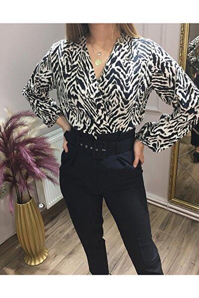 NİCE Kadın Siyah Desenli Bodysuit Bluz