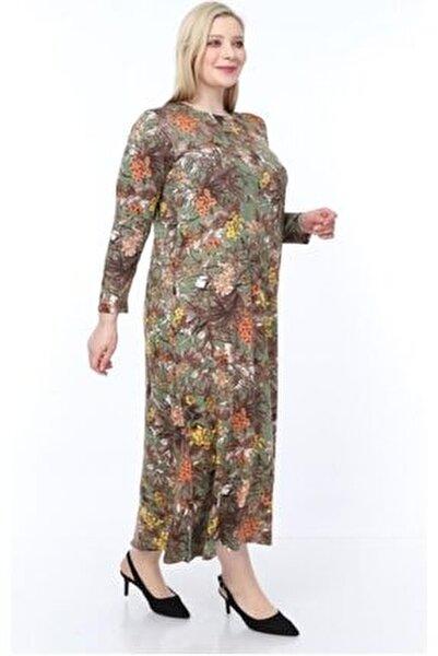 Kadın Yeşil Büyük Beden Desenli Uzun Kol Elbise