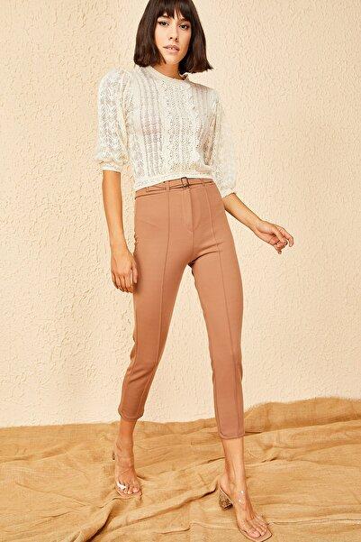 Bianco Lucci Kadın Camel Beli Lastikli Çimalı Krep Pantolon