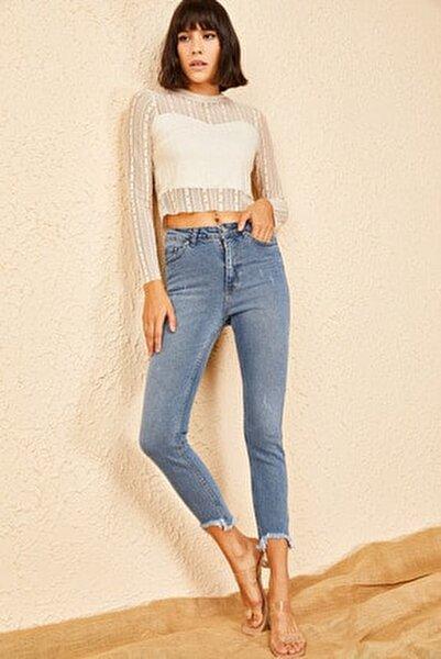 Kadın Mavi Peçli Eskitmeli Mom Jeans