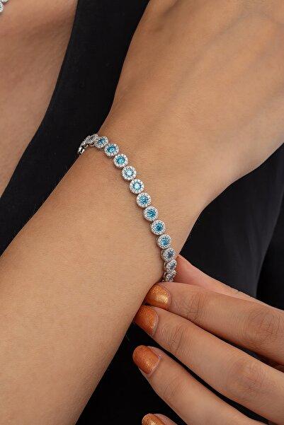 Else Silver Aquamarin Taşlı Pırlanta Modeli Gümüş Bilekliği