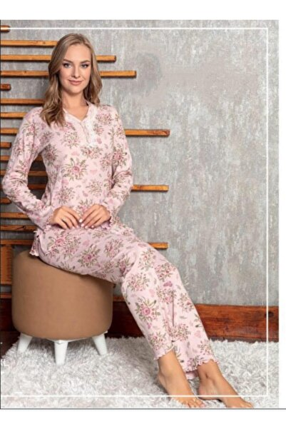 Manolya Kadın Pudra Desenli Pijama Takımı