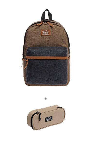 KAUKKO Kırtasiye Kulübü - Çanta Ve Kalem Kutu Seti 12-kahverengi-siyah