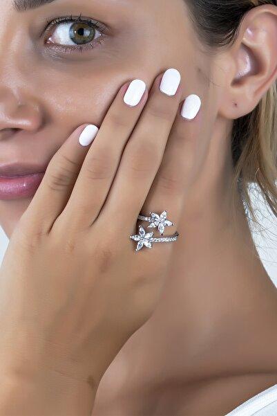 Else Silver Mikro Taşlı Beyaz Kardelen Çiçeği Gümüş Yüzük