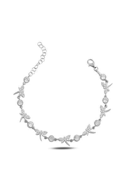 Molenza Kadın Yusufçuk Motifli Taşlı Gümüş Bileklik