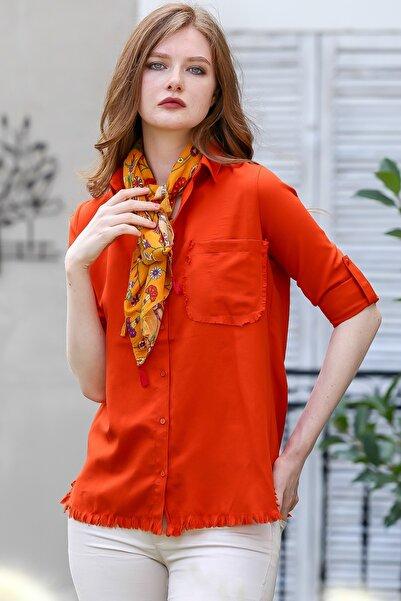 Chiccy Kadın Kiremit Vintage cep ve etek ucu saçaklı kolları ayarlı gömlek M10010400GM99515