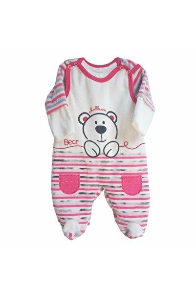 bebegen Gri Pembe Bear Ayıcık Desenli Kadife Tulum