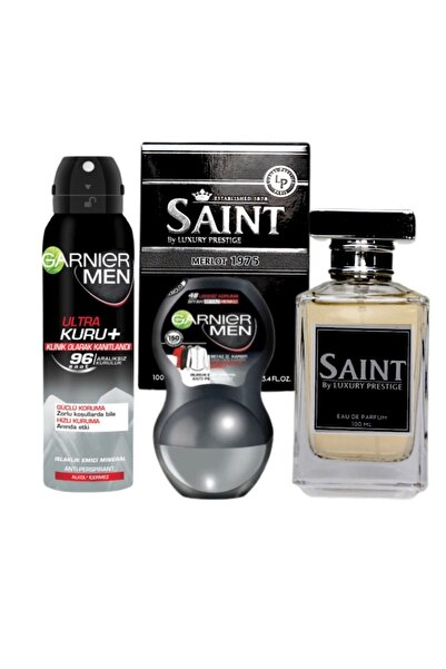 Garnier Men Ultra Kuru Deosprey 150 Ml + Roll On 50 Ml + Saint Merlot 1975 100 Ml Edp Erkek Parfüm