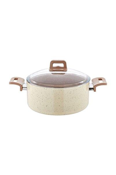 EW's Kitchenware Krem Renkli 24 cm Granit Derin Tencere