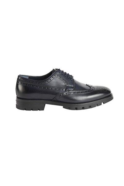 ALBERTO GUARDIANI Erkek Lacivert Hakiki Deri Burattı Ayakkabı