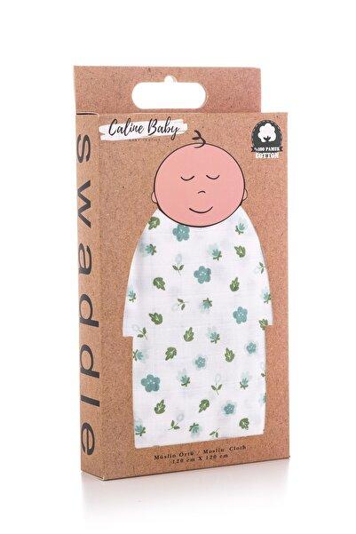 Caline Baby Müslin Bezi Örtü Çiçek Desen - Mavi 120x120 Cm + 4 Adet Ağız Mendili