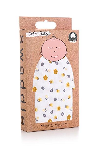 Caline Baby Müslin Bezi Örtü Çiçek Desen - Sarı 120x120 Cm + 4 Adet Ağız Mendili