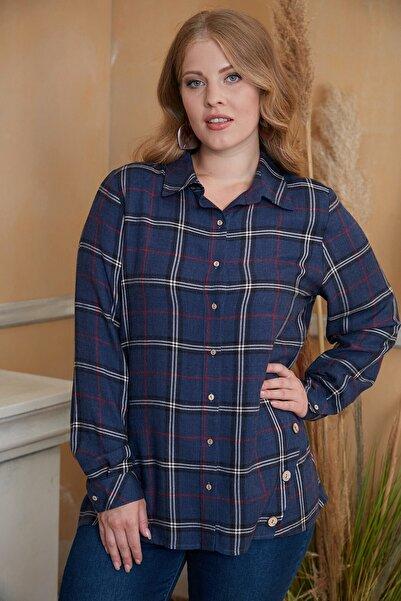 RMG Kadın Lacivert Eteği Düğme Detaylı  Ekose Gömlek