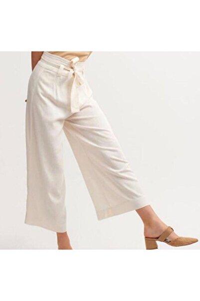 İpekçe  Kadın Bej Yüksek Bel Düğme Detaylı Bol Pantolon