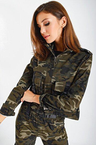 By Saygı Kadın Haki Torba Cepli Kamuflaj Ceket S-21K1490001