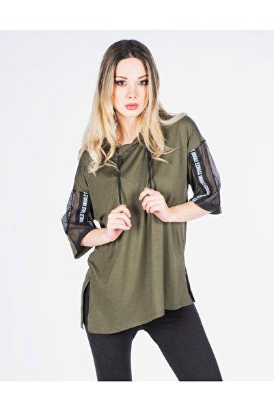 Vision Kadın Haki Kapüşonlu Basic T-shirt