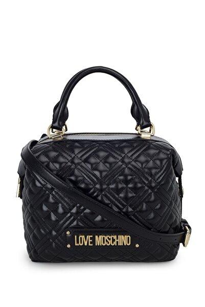 Love Moschino Kadın Siyah Logo Baskılı Ayarlanabilir Askılı Omuz Çantası