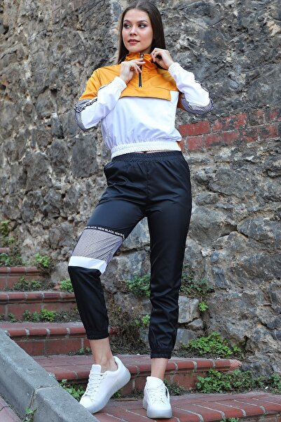 Neşeli Butik Kadın Şık Çok Renkli File Detaylı Eşofman Takımı Nb7007