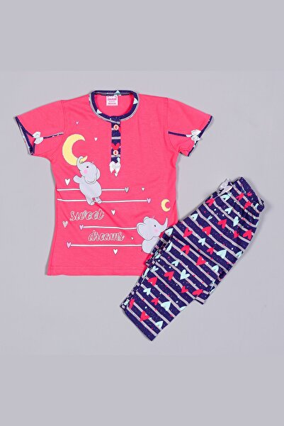 Tarık Kız Çocuk Pembe Penye Fil Desenli Kısa Kollu  Pijama Takımı
