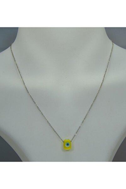 Selin El Yapımı Cam Nazar Boncuklu Kolye (sarı)