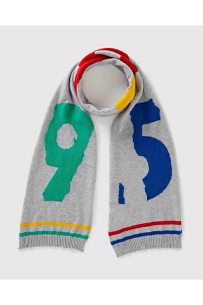 United Colors of Benetton Gri Logolu Triko Atkı