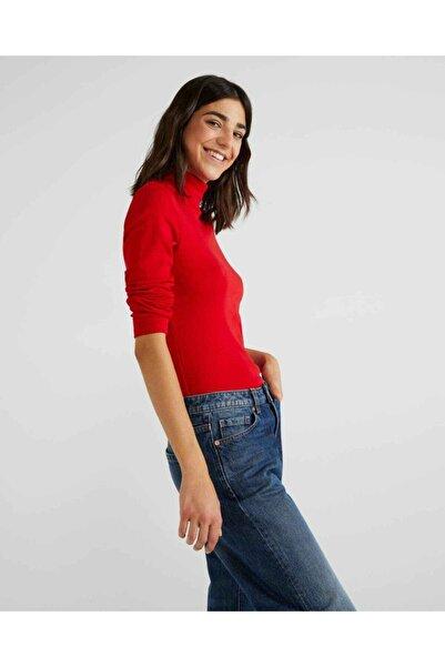 United Colors of Benetton Kadın Kırmızı Boğazlı Tshirt