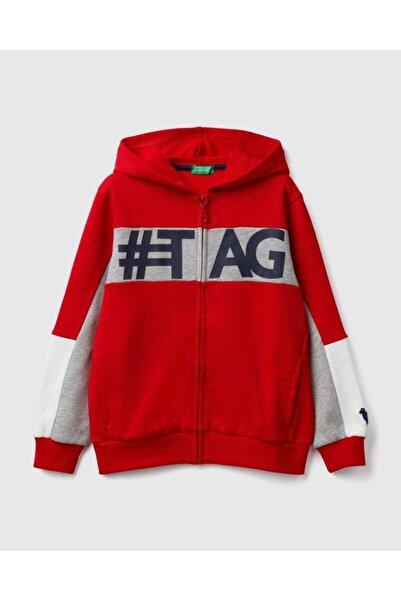 United Colors of Benetton Erkek Kırmızı Renk Bloklu Sweatshirt