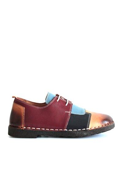 Beta Shoes Kadın Bordo Taba Deri Ayakkabı