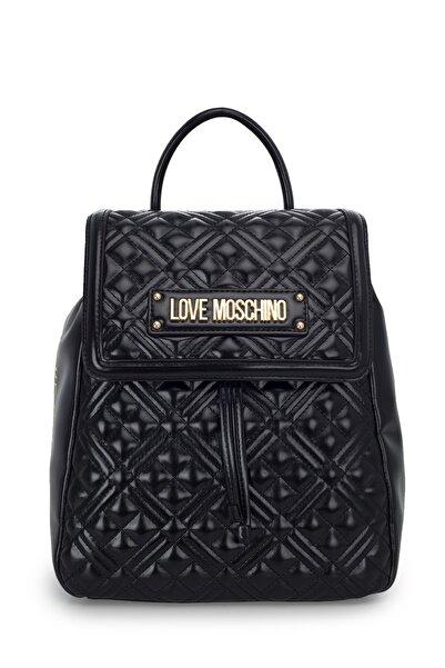 Love Moschino Kadın Siyah Logo Baskılı Ayarlanabilir Askılı Çanta