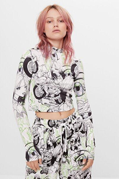 Bershka Kadın Beyaz Billie Eilish x Bershka çizgi film t-shirt 07358851