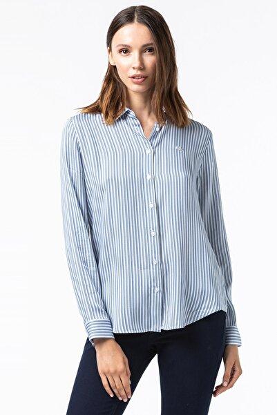 Lacoste Kadın Çizgili Lacivert Gömlek CF2110