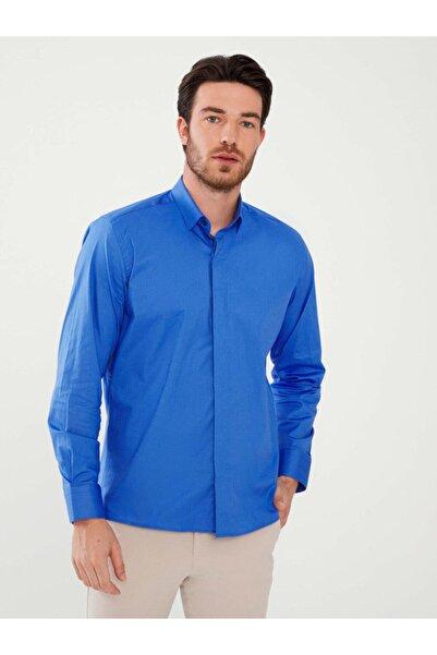 MCL Erkek Mavi Pamuklu Slim Fit Gömlek