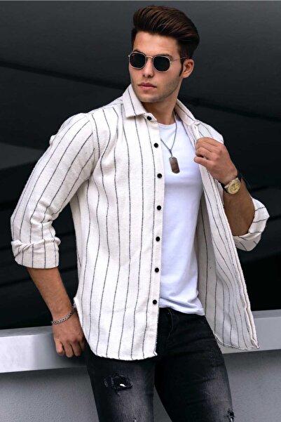 Madmext Erkek Beyaz Çizgili Oduncu Gömlek 4907