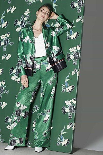 Kadın Yeşil Yüksek Bel Biye Geçişli Pantolon IW6190003053070