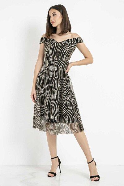 Sateen Kadın Siyah Kayık Yaka Simli Midi Elbise