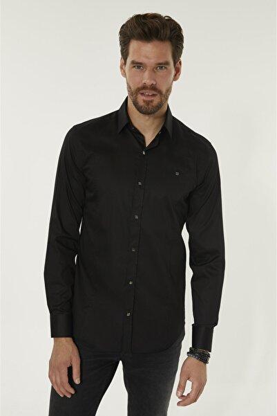 Erkek Siyah Düz Klasik Yaka Slim Fit Gömlek B002217