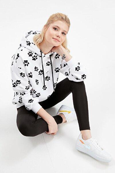Rossa İntimo Kadın Beyaz Kapüşonlu Pati Desenli Sweatshirt Tayt Takım