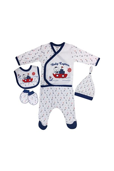Ay Baby Unisex Bebek Mavi Kaptan Desenli Askıda 5li Set