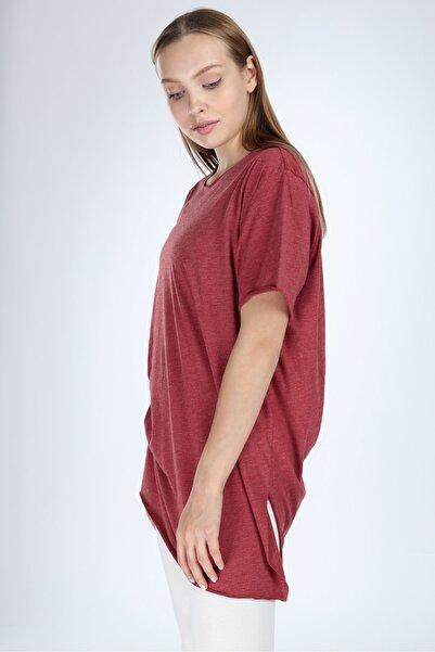 Millionaire Kadın Bordo Yırtmaçlı Basic Oversize T-shirt