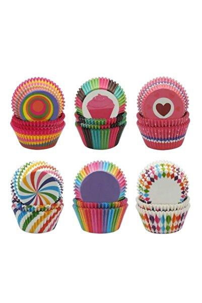 Parti Rengi 100'lü Muffin Kağıdı Kek Kalıbı Desenli